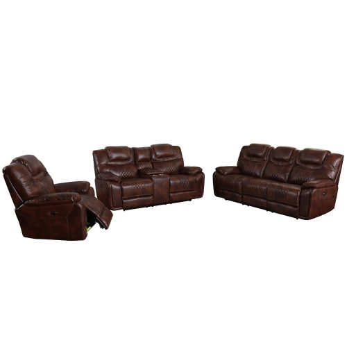Diamond Power Reclining Collection - Reclining living room set in brown - Sofa - loveseat - armchair - SU-ZY5018A001-H246 3 PC