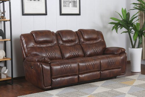 Diamond Power Reclining Collection - Reclining living room set in brown - Sofa- three-quarter living room view - SU-ZY5018A003-H246