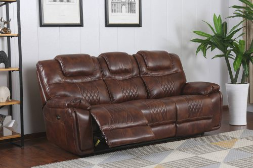 Diamond Power Reclining Collection - Reclining living room set in brown - Sofa- three-quarter living room view in recline - SU-ZY5018A003-H246