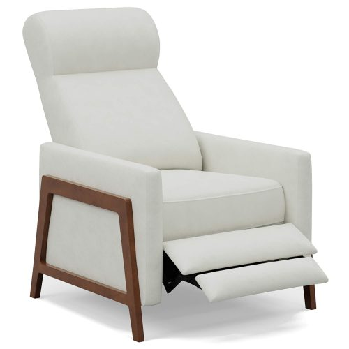 Edge Pushback Recliner shown in Pearl White - Three-quarter view in partial recline - SY-1357-86-9102-81