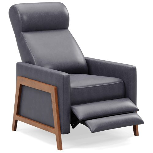 Edge Pushback Recliner - shown in Slate Gray - Three quarter view in partial recline - SY-1357-86-9102-94