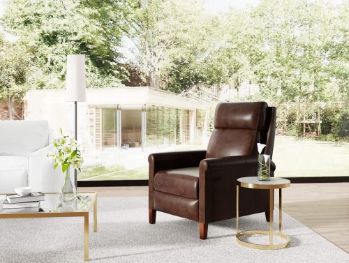 Ethan Pushback Recliner shown in Espresso - Comfortable room setting - SY-1916-86-9210-89