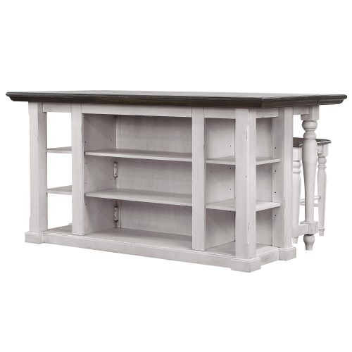 French Chic Collection - Drop Leaf Kitchen Island - angled view with Leaf up - DLU-FC1016-IT