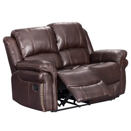 Glorious Collection - Reclining Loveseat in brown - three-quarter view partial recline - SU-GL-U9521L
