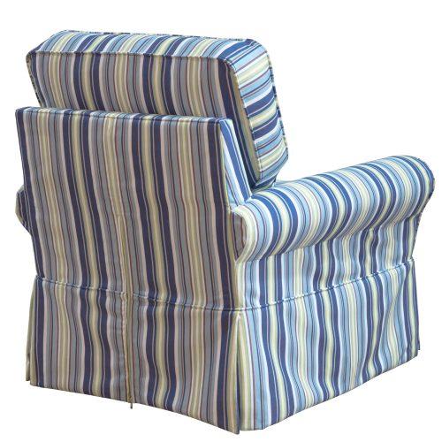 Horizon Slipcovered Box Cushion - Swivel Rocking Chair - Beach Striped - back view - SU-114993-395245