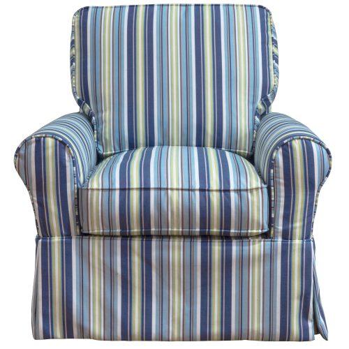 Horizon Slipcovered Box Cushion - Swivel Rocking Chair - Beach Striped - front view - SU-114993-395245