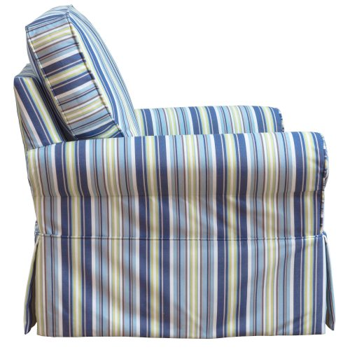 Horizon Slipcovered Box Cushion - Swivel Rocking Chair - Beach Striped - side view - SU-114993-395245