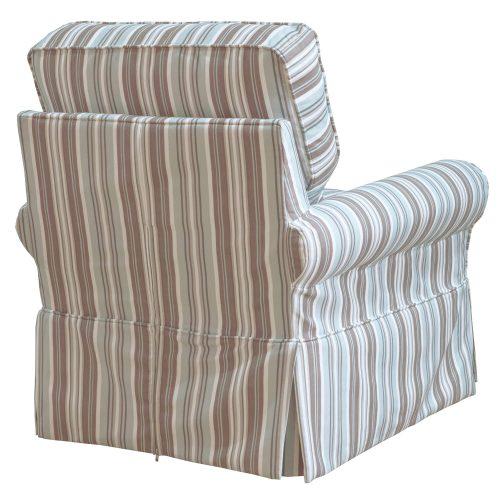 Horizon Slipcovered Box Cushion Swivel Rocking Chair - back view - Blue Striped - SU-114993-395225