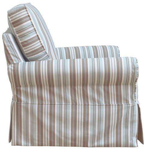 Horizon Slipcovered Box Cushion Swivel Rocking Chair - side view - Blue Striped - SU-114993-395225