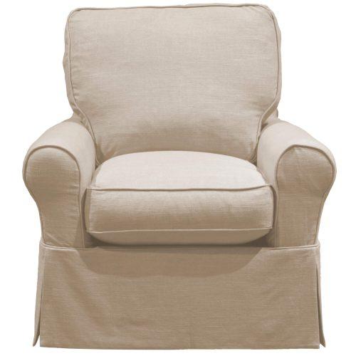 Horizon Slipcovered Swivel Rocking Chair - font view - U-114993-466082