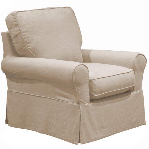 Horizon Slipcovered Swivel Rocking Chair - three-quarter view - U-114993-466082