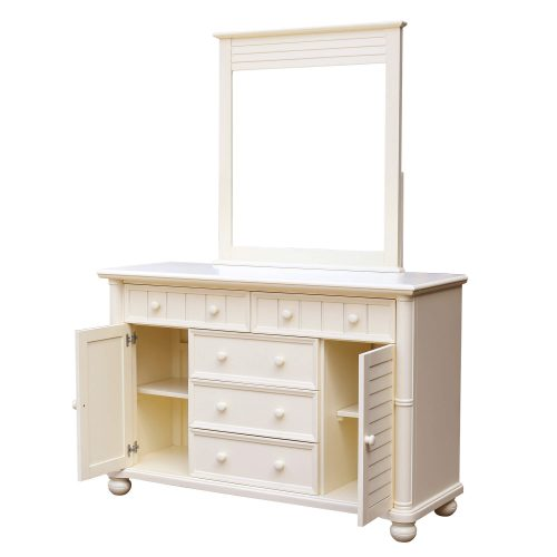 Ice Cream at the Beach Collection - Dresser with mirror - three quarter view with doors open - CF-1730_34-0111