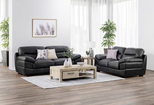 Jericho Loveseat and Sofa in Black - Lifestyle setting