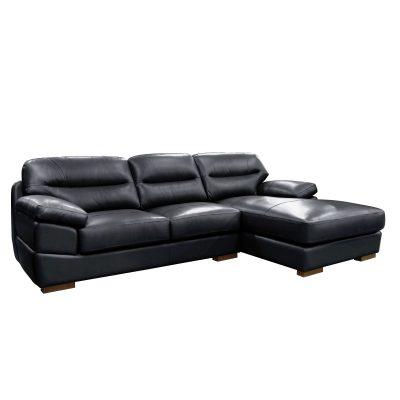 Jericho Right Facing Chaise Sofa in Black - Three quarter view - SU-JH3780-2P
