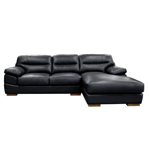 Jayson Right Facing Chaise Sofa in Black - Front view - SU-JH3780-2P