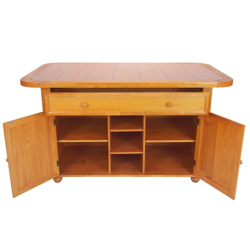 Kitchen Island - Light Oak finish with a Rose tile top - drawer and doors open - CY-KITT02-LO