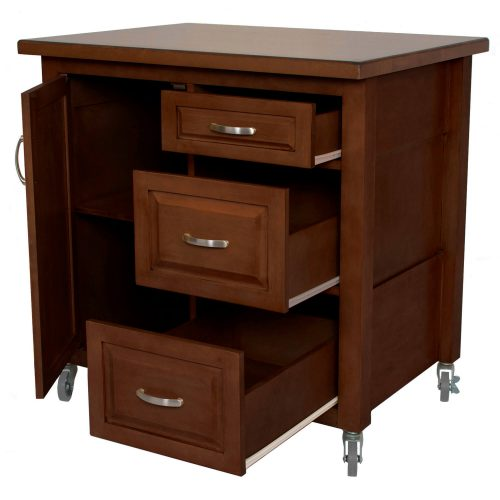 Andrews Kitchen Cart with casters - brown rubberwood - drawers open - PK-CRT-04-CT
