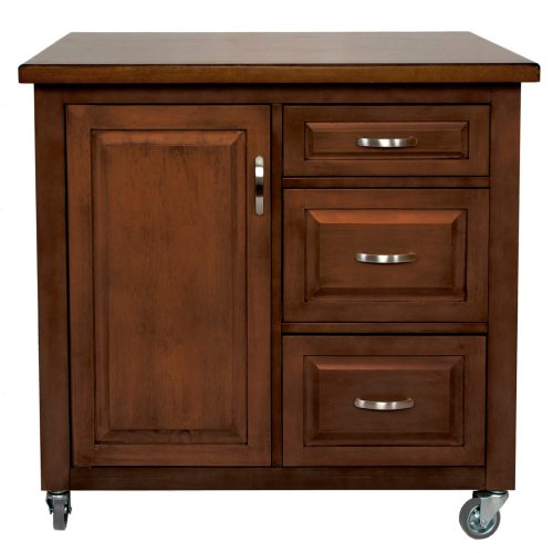 Andrews Kitchen Cart with casters - brown rubberwood - front view - PK-CRT-04-CT