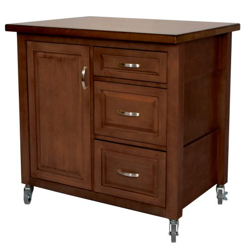 Andrews Kitchen Cart with casters - brown rubberwood - three-quarter view - PK-CRT-04-CT
