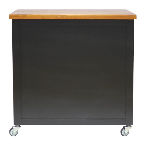 Kitchen Cart with casters in black cherry - back view PK-CRT-04-BCH