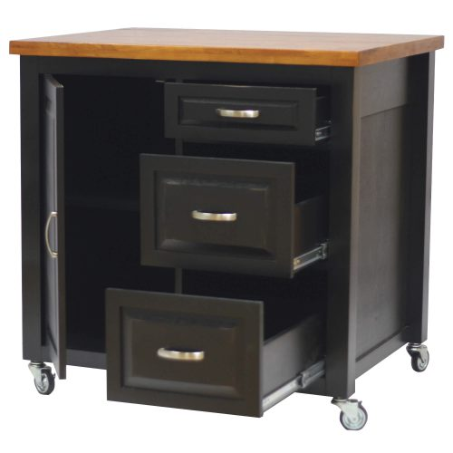 Kitchen Cart with casters in black cherry - drawers open PK-CRT-04-BCH