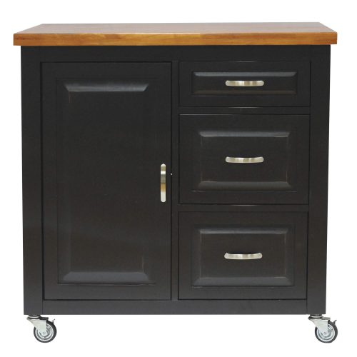 Kitchen Cart with casters in black cherry - front view PK-CRT-04-BCH