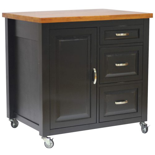 Kitchen Cart with casters in black cherry - three-quarter view PK-CRT-04-BCH
