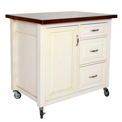 Andrews Kitchen Cart with casters in distressed white - three-quarter view - PK-CRT-04-AW