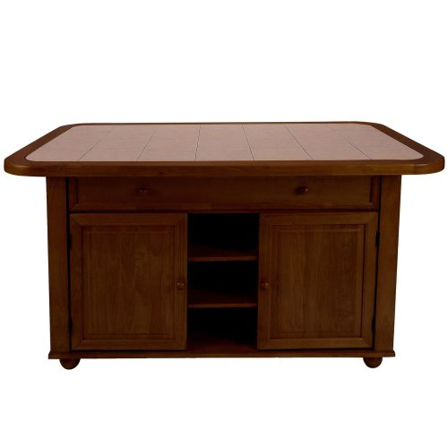 Kitchen island - Nutmeg finish and Terracotta rose time top - front view - CY-KITT02-NUT