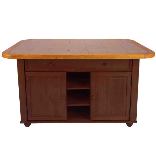 Kitchen island - Nutmeg finish with light oak trim and Terracotta rose time top - front view - CY-KITT02-NLO