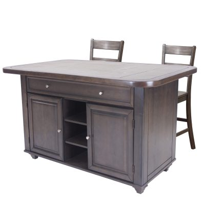 Kitchen island with matching stools in Antique Gray finish with grey tile top - three-quarter view - CY-KITT02-B200-AG3PC
