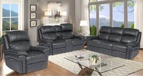Luxe Collection - reclining armchair - loveseat - three seater sofa in charcoal - SU-9102