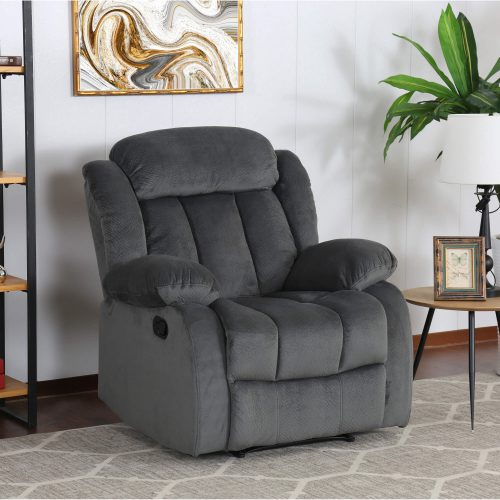 Madison Collection - Reclining armchair shown in Charcoal - living room setting - three-quarter view - SU-ZY550-108