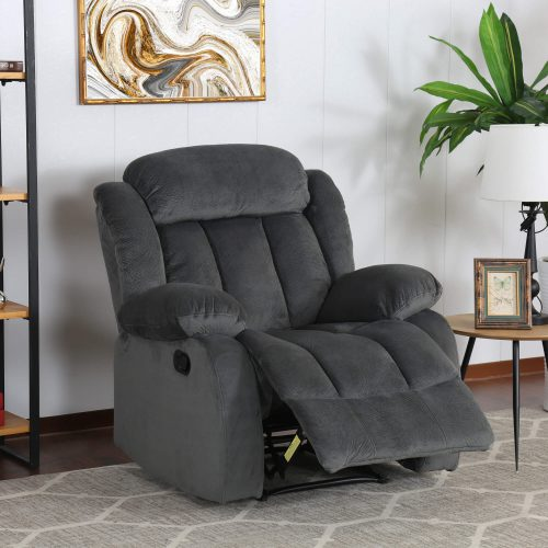 Madison Collection - Reclining armchair shown in Charcoal - living room setting - three-quarter view in partial recline - SU-ZY550-108