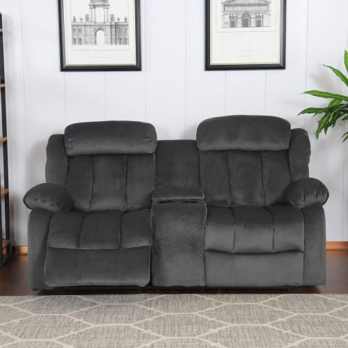 Madison Collection - Reclining loveseat shown in Charcoal - living room setting - front view in partial recline - SU-ZY550-206