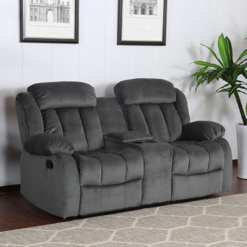 Madison Collection - Reclining loveseat shown in Charcoal - living room setting - three-quarter view SU-ZY550-206