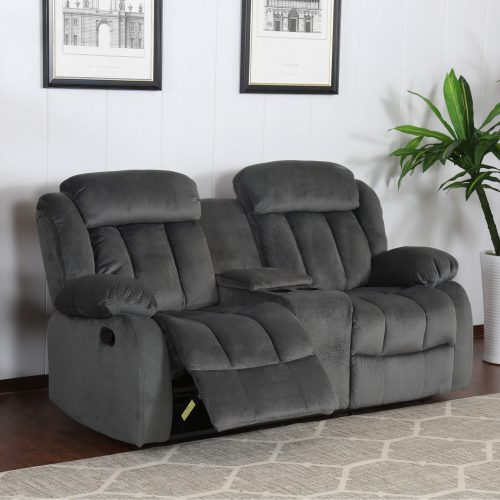 Madison Collection - Reclining loveseat shown in Charcoal - living room setting - three-quarter view in partial recline - SU-ZY550-206