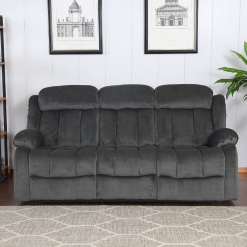 Madison Collection - Reclining sofa shown in Charcoal living room setting - front view - SU-ZY550-305