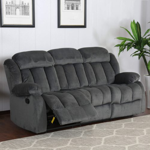 Madison Collection - Reclining sofa shown in Charcoal living room setting - three-quarter view in partial recline- SU-ZY550-305