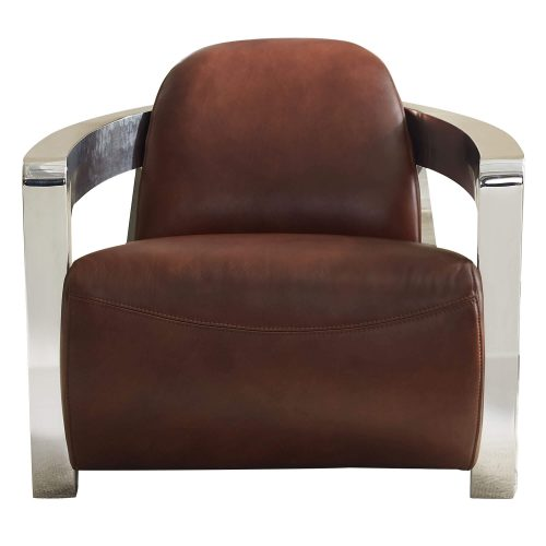 Milan Leather Collection - Armchair in brown with chrome arms - front view - SU-AX1902-A