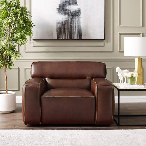 Milan Leather Collection - Armchair in brown - living room setting - SU-AX6816-C