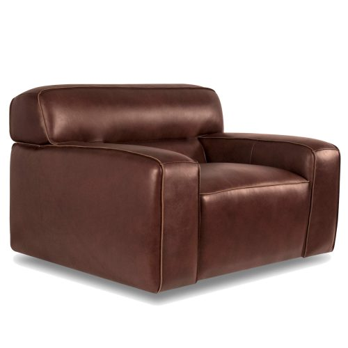 Milan Leather Collection - Armchair in brown - three-quarter view - SU-AX6816-C
