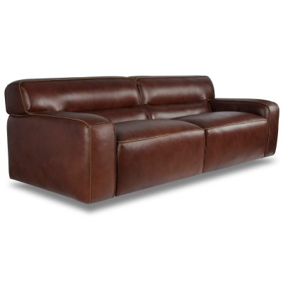 Milan Leather Sofa - three-quarter view – Brown SU-AX6816-S