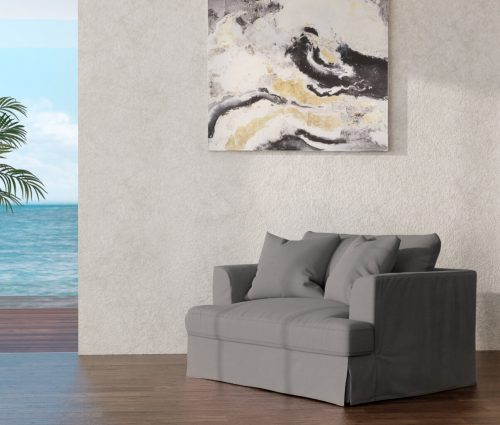 Newport Slipcovered Collection - Chair & 1/2 - Gray - lifestyle view - SY-130015-391094