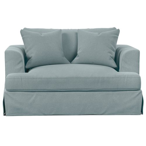 Newport Slipcovered Collection - Chair & 1/2 - Light Blue - front view - SY-130015-391043