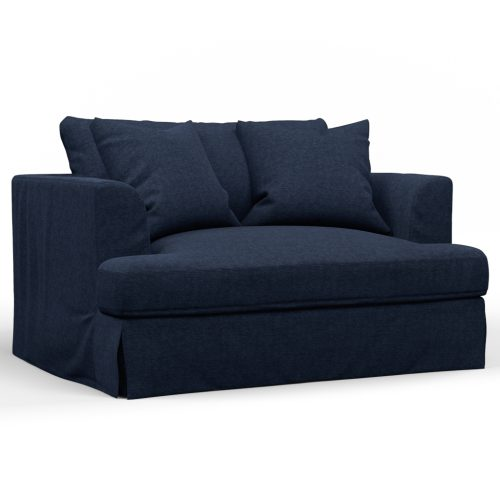 Newport Slipcovered Collection - Chair & 1/2 - Navy - angled view - SY-130015-391049