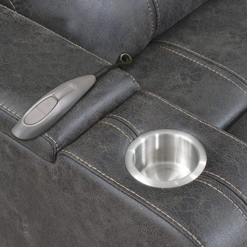 Power Reclining Chaise Lounge in Gray - cup holder and wand remote - SU-K1128045LS