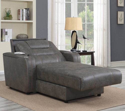 Power Reclining Chaise Lounge in Gray - living room setting partial recline position - SU-K1128045LS