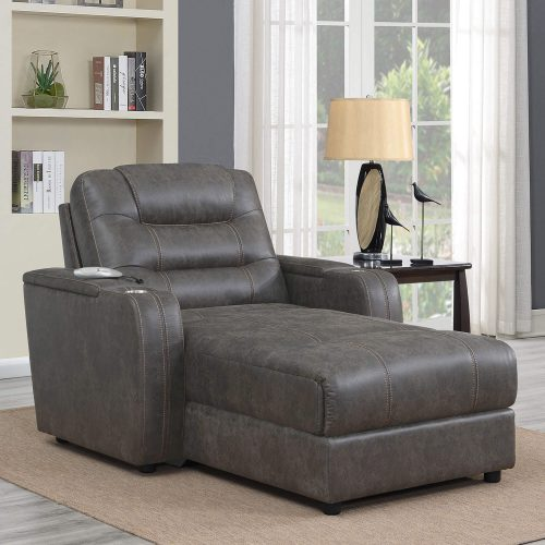 Power Reclining Chaise Lounge in Gray - living room setting upright position - SU-K1128045LS