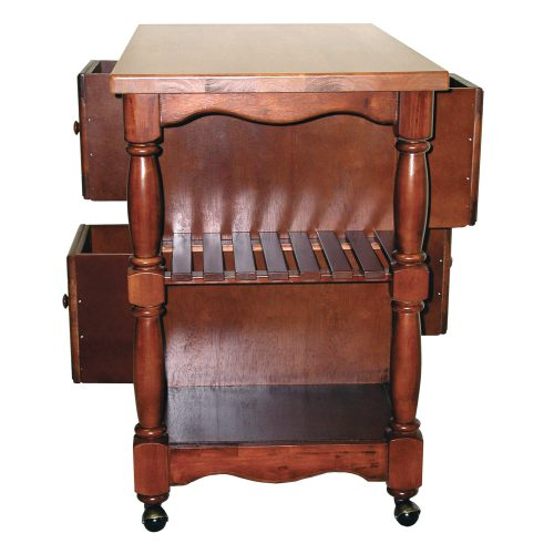 Regal Kitchen Cart on casters in nutmeg finish and light oak top - side view showing storage shelves - DCY-CRT-03-NLO